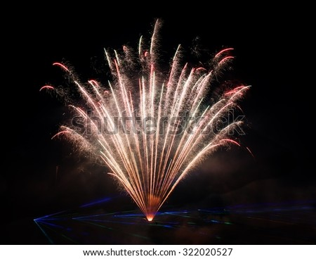 Artistic fireworks. Famous Vilnius fireworks festival. Fireworks fan. Explode. New Year celebration. 4 July. Holidays background  - stock photo