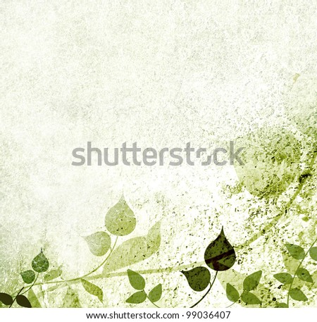 Artistic floral design with vintage background - stock photo