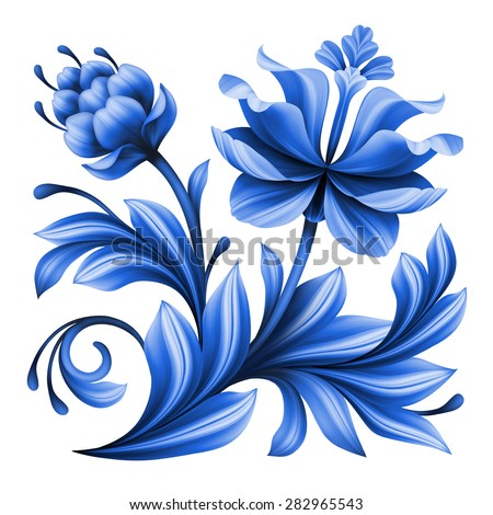artistic floral element, abstract gzhel folk art, blue flower illustration isolated on white background - stock photo