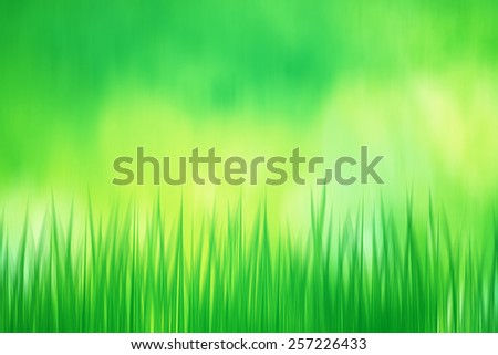 Artistic green spring grass with bright yellow green bokeh background, illustration. - stock photo