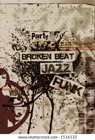 artistic grunge flyer design on aged paper with ink bolt, broken-beat, funk, nu jazz,eroded, rusty, just ad your text - stock photo