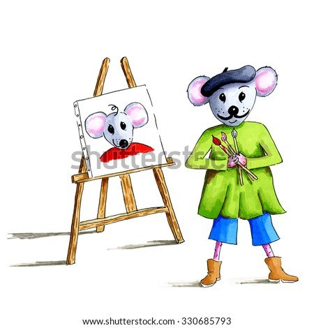 Artistic mouse had paint a portrait isolated over white background - stock photo