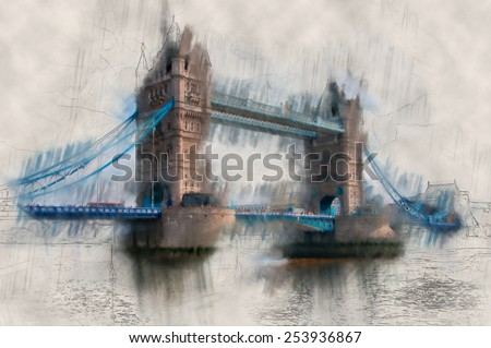 Artistic paint effect vintage view of London Tower Bridge crossing the River Thames with the drawbridge down for traffic - stock photo
