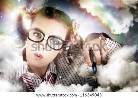 Artistic Photo Of A Technology Smart Business Woman Clicking A Computer Mouse While Using Cloud Computing - stock photo