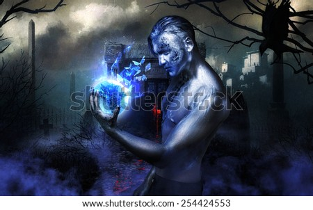 Artistic photo of warlock magic of light - stock photo