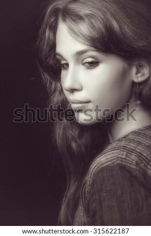 Artistic portrait of sensual beautiful young woman - stock photo