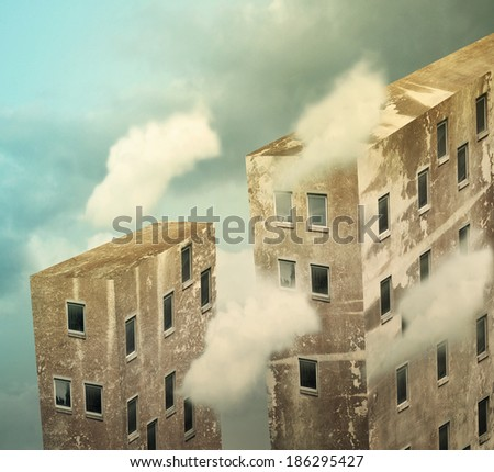 Artistic skyscrapers in the sky above the clouds - stock photo