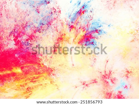 Artistic splashes of bright paints. Abstract light color pattern. Futuristic color background for wallpaper, album, flyer cover, poster, booklet. Fractal artwork for creative graphic design. - stock photo