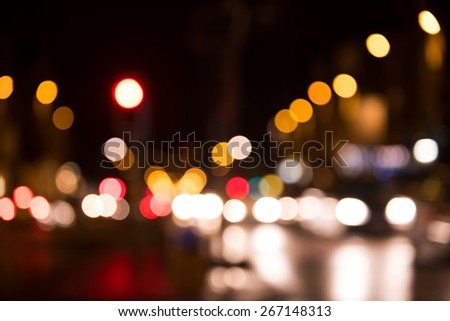 Artistic style - Defocused, blurred urban abstract traffic background  - stock photo