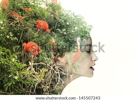 Artistic surreal female profile in a metamorphosis with nature - stock photo