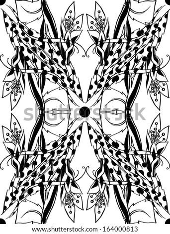 Artistic symmetrical tile pattern - stock photo