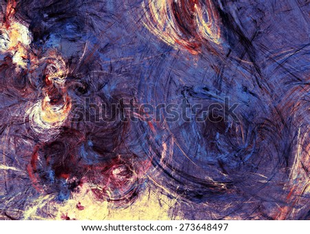 Artistic texture of paints. Abstract beautiful dark blue and purple background. Modern futuristic color pattern for wallpaper, flyer cover, poster. Fractal artwork for creative graphic design. - stock photo