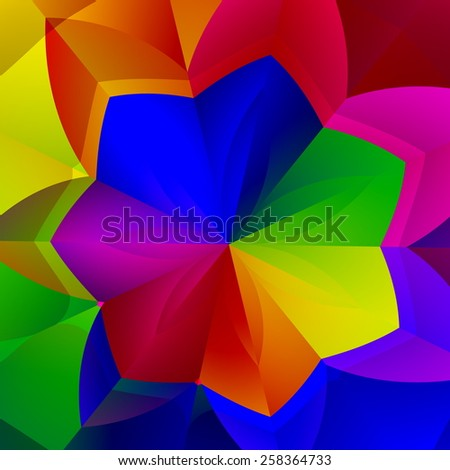 Artistic Vibrant Flower Shape. Colorful Abstract Background. Decorative Floral Image. Creative Art Illustration. Unique Digital Artwork. Unique Psychedelic Graphic. Many Saturated Colors. Backdrop. - stock photo