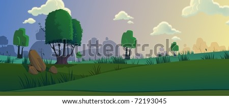 Artistic view of trees on grass field and cloudy sky - stock photo