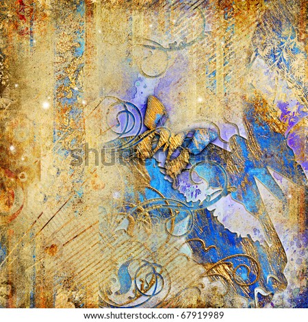 artistic vintage background with butterflies - stock photo