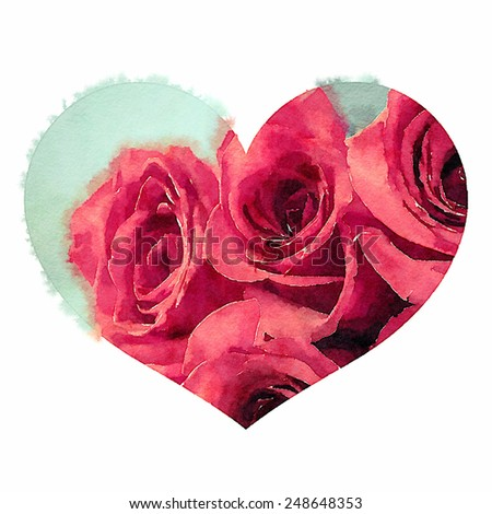 Artistic water color sketch of red roses in a heart shape. Isolated background graphic. - stock photo
