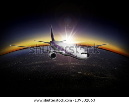 Artists impression: Modern airliner at very high altitude with sunrise - sunset and the curvature of the earth - stock photo