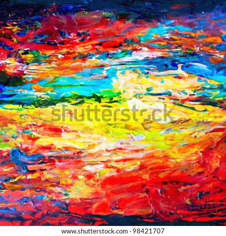 Artists oil painting palette - stock photo