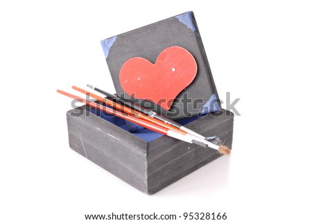 Arts and Crafts Project for Valentines Day - stock photo