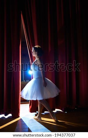 Arts and entertainment in theatre with female classic dancer in tutu, standing behind the scenes and looking at stalls - stock photo