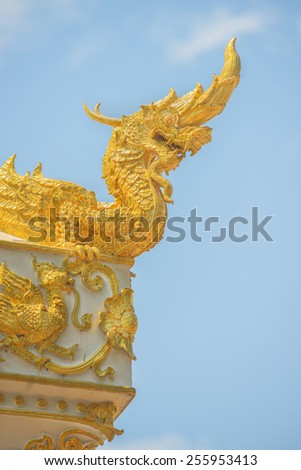 Arts of Buddhism - King of Naga statue in Thailand temple. - stock photo