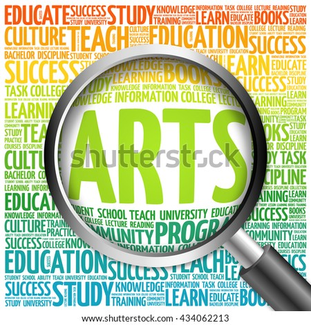 ARTS word cloud with magnifying glass, concept 3D illustration - stock photo