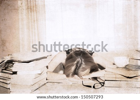 artwork  in retro style,  girl in the library, sleeping - stock photo