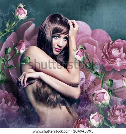 artwork with a beautiful girl in roses - stock photo