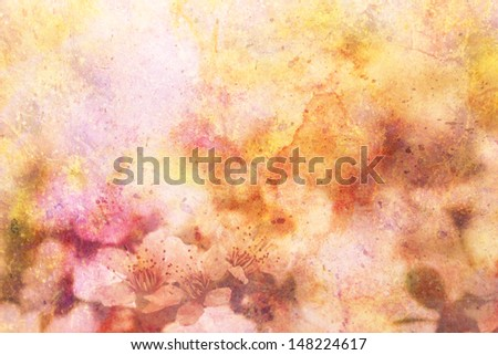 artwork with blooming apricot tree branches and watercolor smudges - stock photo