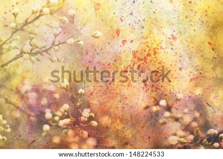 artwork with blooming branches and watercolor splatter - stock photo
