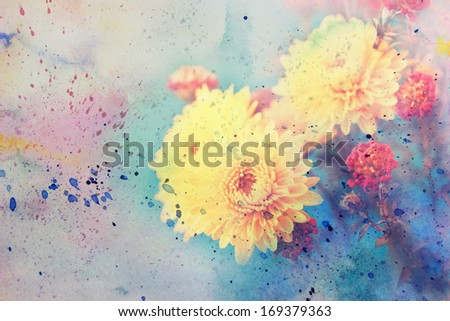 artwork with cute yellow aster's flowers and watercolor splashes - stock photo