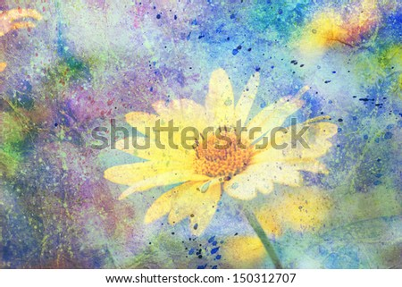artwork with cute yellow flower and colorful watercolor strokes - stock photo