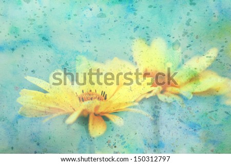 artwork with cute yellow flowers and watercolor strokes - stock photo