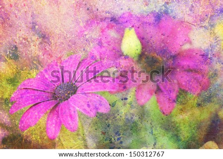 artwork with deep purple flowers and colorful watercolor strokes - stock photo