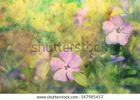 artwork with lilac flowers and splashes of watercolor - stock photo