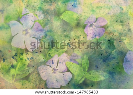 artwork with lilac flowers and watercolor splatter - stock photo