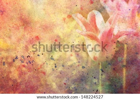 artwork with tulips and watercolor splatter - stock photo