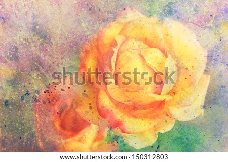 artwork with yellow rose and watercolor strokes - stock photo