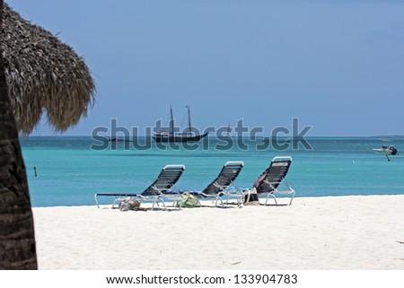 aruba coastline - stock photo