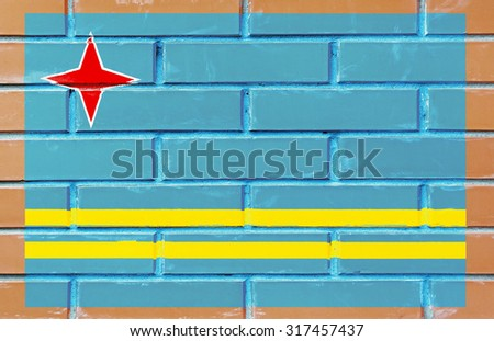 Aruba flag painted on old brick wall texture backgroun - stock photo