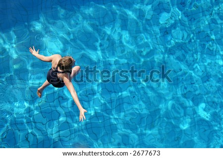 As if she's walking on water - stock photo