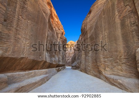 As-Siq Petra, Lost rock city of Jordan.  UNESCO world heritage site and one of The New 7 Wonders of the World. - stock photo