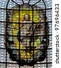 Ascension of Christ. Stained glass window in the church Sainte Sulpice in Paris, France. - stock photo
