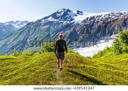 Ascent to Donoho peak, Alaska - stock photo