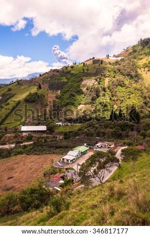 Ash And Gas Is Spreading From Ecuador Tungurahua Volcano, South America  - stock photo