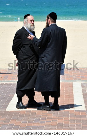 ASHDOD, ISR - APR 15:Ultra-Orthodox Jews on Apr 15 2010.New bill in Israel may make military service mandatory for ultra-Orthodox Jews, reversing an exemption policy since the beginning of the state. - stock photo