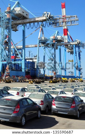 ASHDOD - MAR 16:Imported cars parked in port of Ashdod on March 16 03 2011.It's one of Israel's two main cargo ports and one of the few deep water ports in the world to be built on the open sea. - stock photo