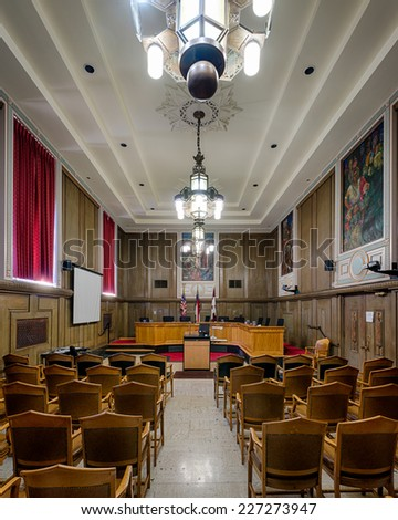 ASHEVILLE, NORTH CAROLINA - OCTOBER 17: Empty Council Chambers in the City Building on October 17, 2014 in Asheville, North Carolina - stock photo
