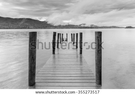 Ashiness Jetty on Derwentwater in the UK Lake District - stock photo
