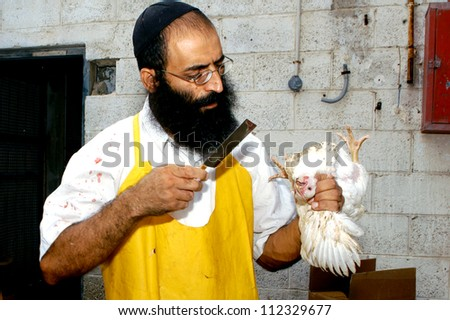 ASHKELON - OCTOBER 01: Ultra-orthodox Jew does ritual Kapparot - kills a chicken. on October 1, 2006 in Ashkelon, Israel - stock photo